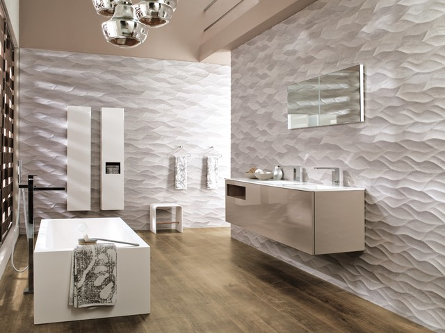 3 Dimensional Feature Tiles Ona Natural Contemporary Bathroom