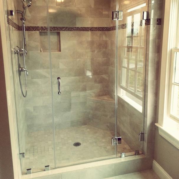 3 panel frameless shower door traditional bathroom for 3 panel tub shower doors