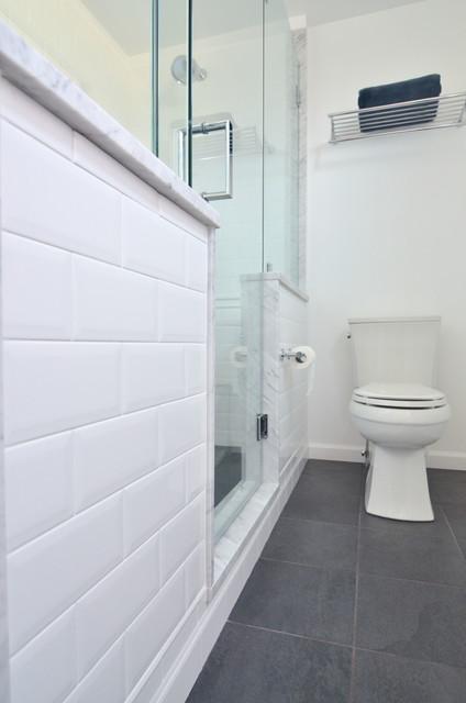 3 X 6 White Subway Tile Modern Bathroom Philadelphia By Dremodeling