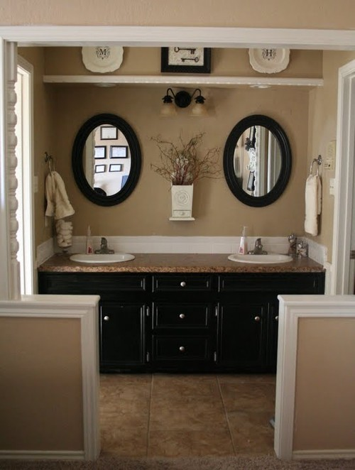 Rattlebridge farm choppy decorating for Beige and black bathroom ideas