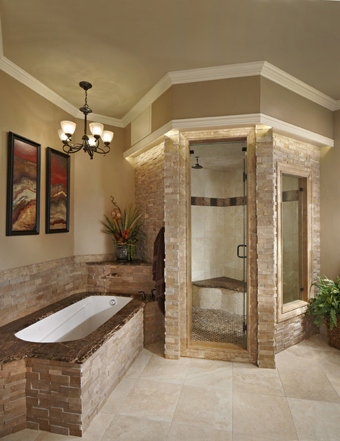 3D Stack Steam Shower U0026 Tub Traditional Bathroom