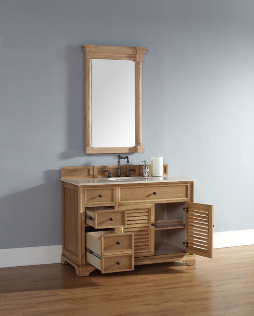48 Inch Savannah Natural Oak Single Sink Vanity Transitional Bathroom San Diego By