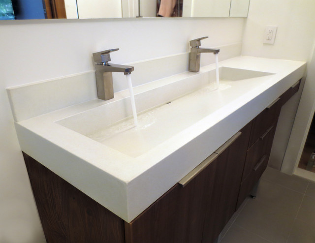 48 White Linen Custom Concrete Bathroom Vanity Sink Contemporary Bathroom New York By