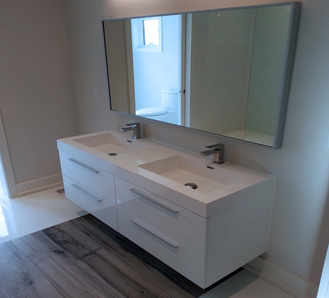 "54"" Alnöite Modern Wall Mounted Double Basin Bathroom Vanity - High Gloss White - Modern ..."