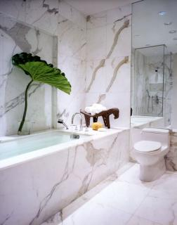 white and gold marble in houston bathroom new york inspiration