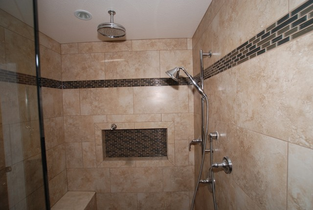 6 Foot Tub in Window Alcove Glass Tile Inlaid Floors Shower