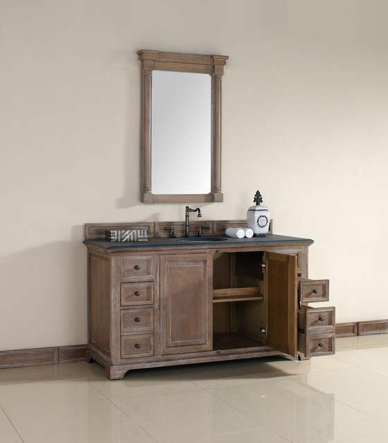 60 Inch Providence Driftwood Grey Single Sink Vanity Transitional Bathroom San Diego By