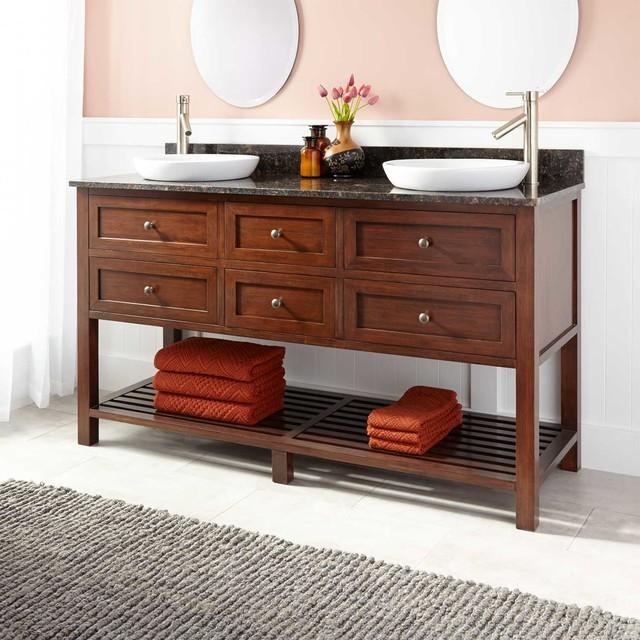 60 taren bamboo double vanity for semi recessed sink for Modern bamboo bathroom vanity