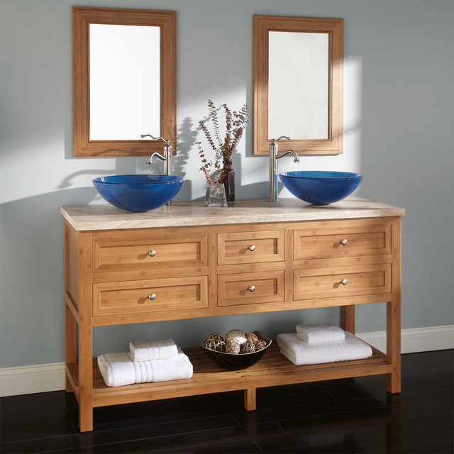 60 thayer bamboo double vessel sink vanity contemporary for Modern bamboo bathroom vanity
