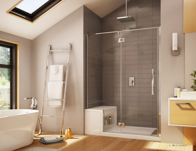 Marvelous 60 X 32 Acrylic Shower Base And Pivoting Frameless Shower Door System  Transitional Bathroom