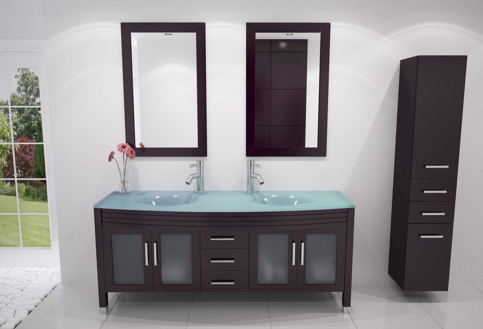 63 Grand Regent Large Double Sink Modern Bathroom Vanity Cabinet With Glass Top Modern Bathroom Denver By Bathgems