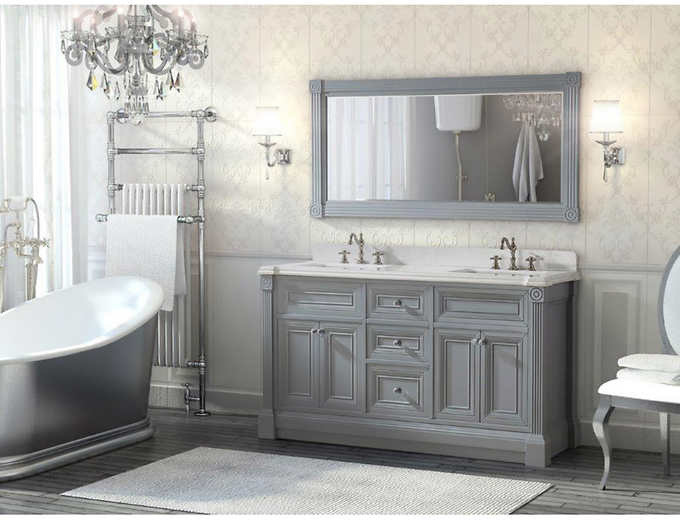 63 Inch Gray Finish Double Sink Bathroom Vanity Cabinet With Mirror Transitional Bathroom Philadelphia By Vanities For Bathrooms Houzz