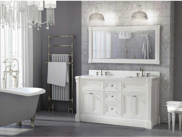 63 Inch White Finish Double Sink Bathroom Vanity Cabinet With Mirror Transitional Bathroom Philadelphia By Vanities For Bathrooms