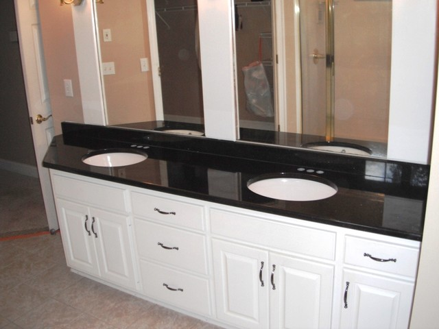 7 2 12 Black Galaxy Granite Colors For White Cabinets Traditional Bathroom Charlotte By