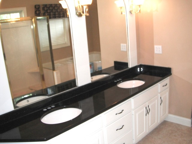 ... 12 BLACK GALAXY Granite Colors for white Cabinets traditional-bathroom