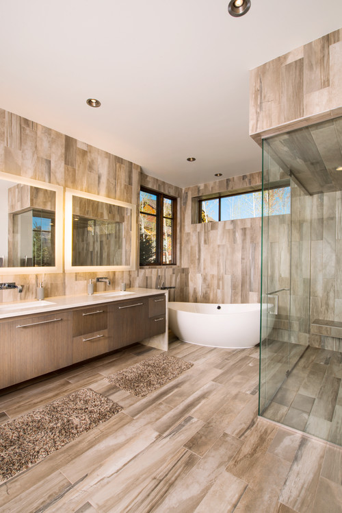Revitalize a bathroom with porcelain tiles that look like wood | Home Art Tile Kitchen and Bath