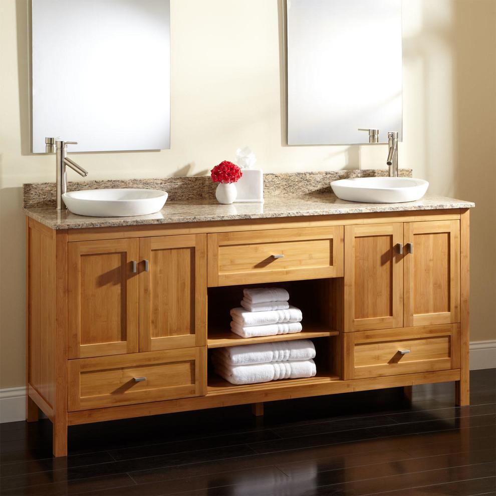 72 Alcott Bamboo Double Vanity For Semi Recessed Sinks Contemporary Bathroom Cincinnati By Signature Hardware
