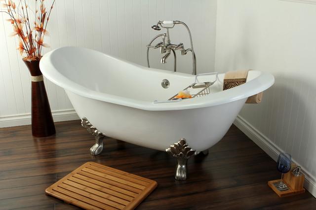 cast iron double slipper clawfoot tub. 72  Cast Iron Double Slipper Clawfoot Bathtub without Faucet Drillings traditional bathroom