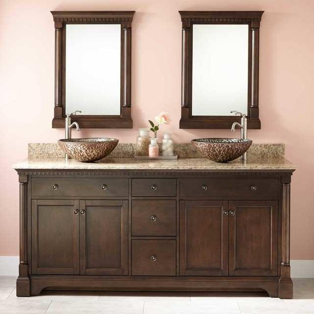 Claudia Double Vessel Sink Vanity Antique Coffee - Bathroom vanities cincinnati