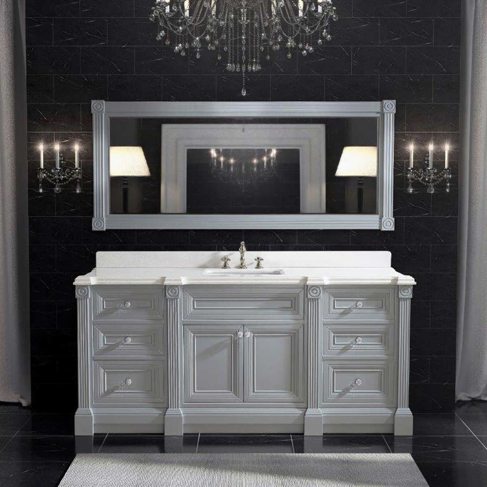 72 Inch Gray Finish Single Sink Bathroom Vanity Cabinet With Mirror Transitional Bathroom Philadelphia By Vanities For Bathrooms Houzz