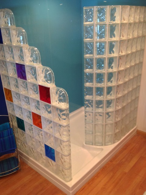 72 X 51 Glass Block Walk In Shower With A Straight And Curved Wall And  Acrylic