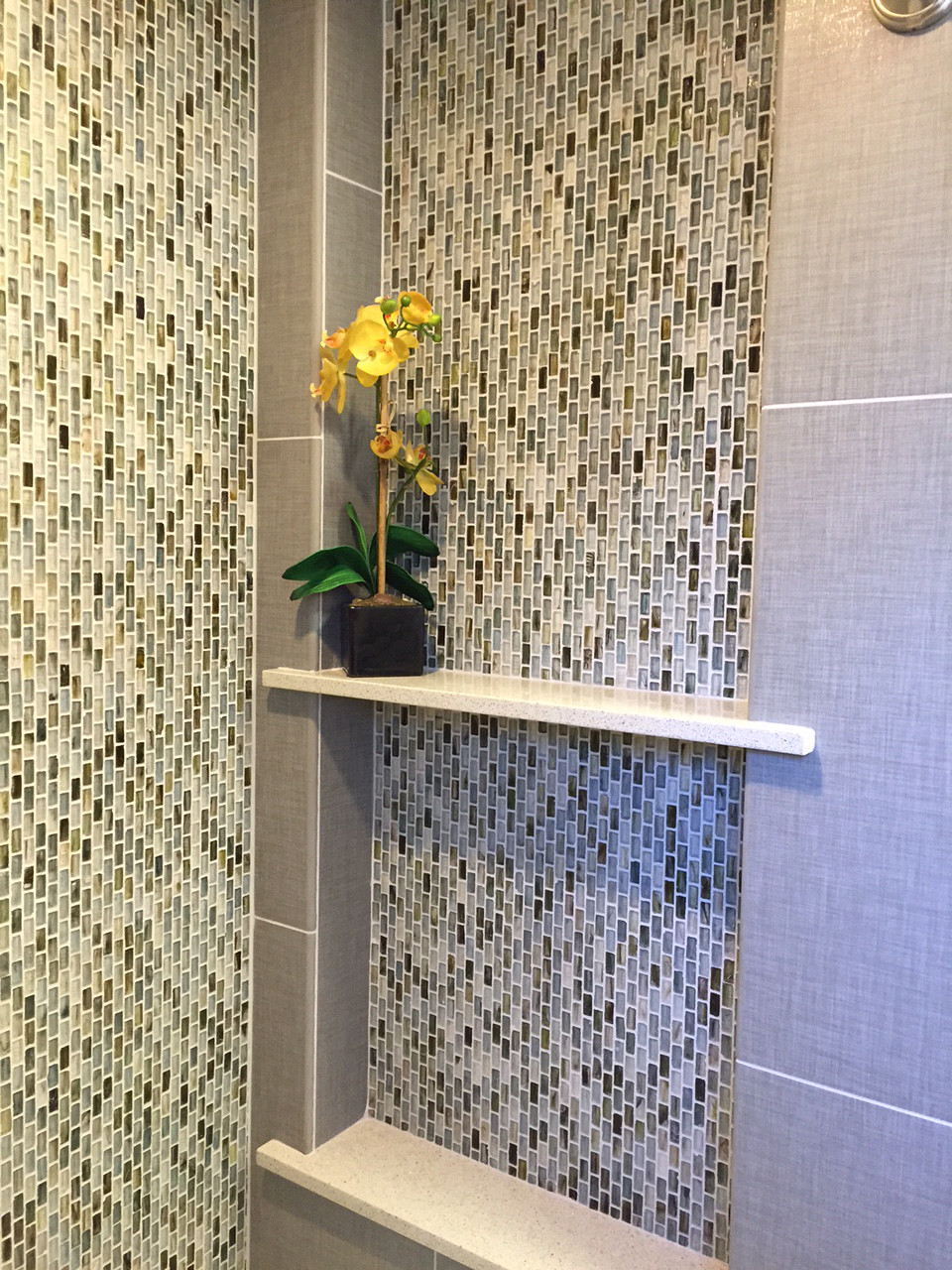 7312 large Bathroom corner shampoo niche.