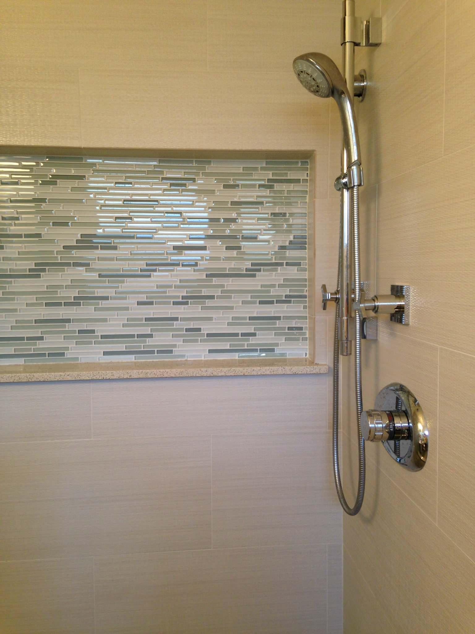 7312 small bathroom shampoo niche.