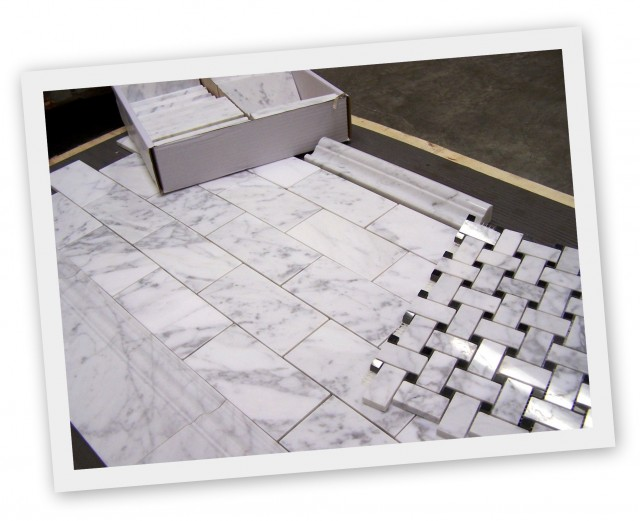 7sf Carrara Carrera 39 Polished 39 Basketweave With 3x6 And Trims Italian Marble Traditional