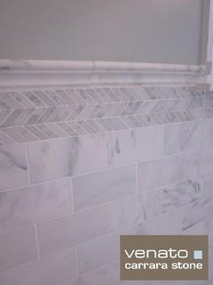 7sf Carrara Marble Subway Tile Traditional Bathroom