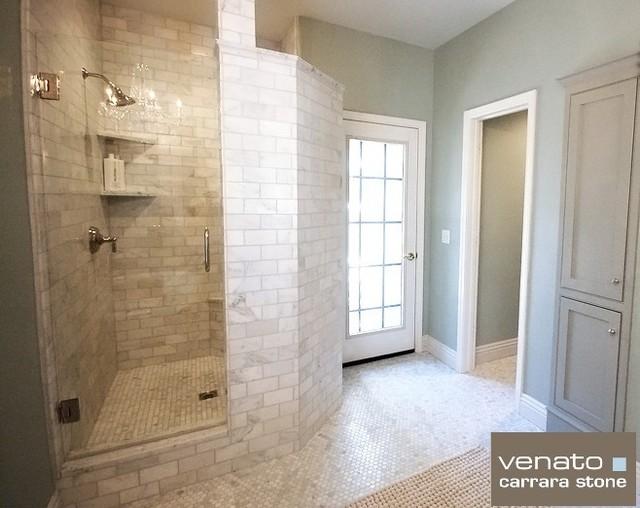 $7SF Carrara Venato Subway Tile and $10.95SF Carrara Hexagon Mosaic Floor Tiles traditional-bathroom