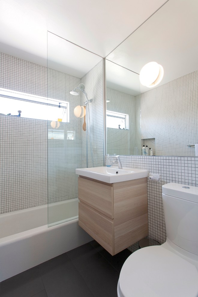 Tub/shower combo - modern mosaic tile tub/shower combo idea in Los Angeles