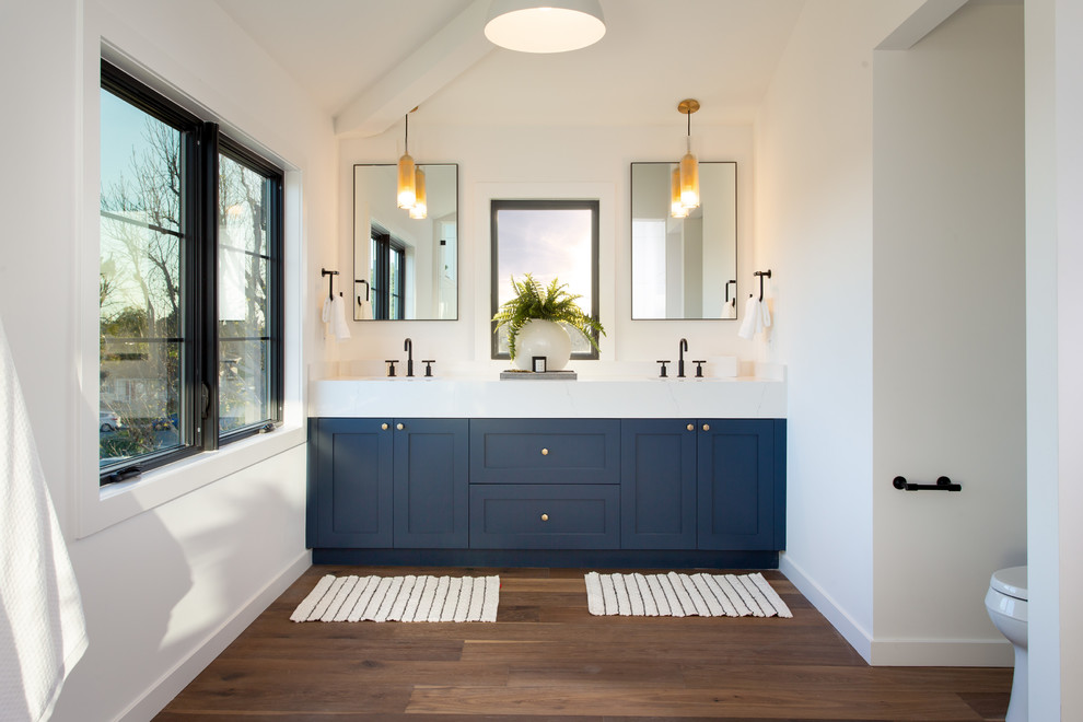 Bathroom - transitional dark wood floor and brown floor bathroom idea in Los Angeles with shaker cabinets, blue cabinets, white walls and white countertops