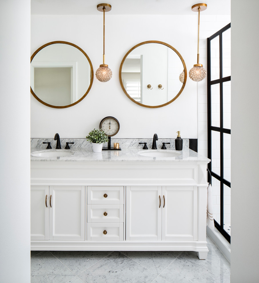 Example of a mid-sized classic master white tile and subway tile marble floor alcove shower design in San Francisco with white cabinets, white walls, an undermount sink, recessed-panel cabinets, a two-piece toilet and marble countertops