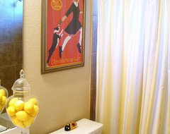 A bathroom the size of a pocket hankie eclectic-bathroom