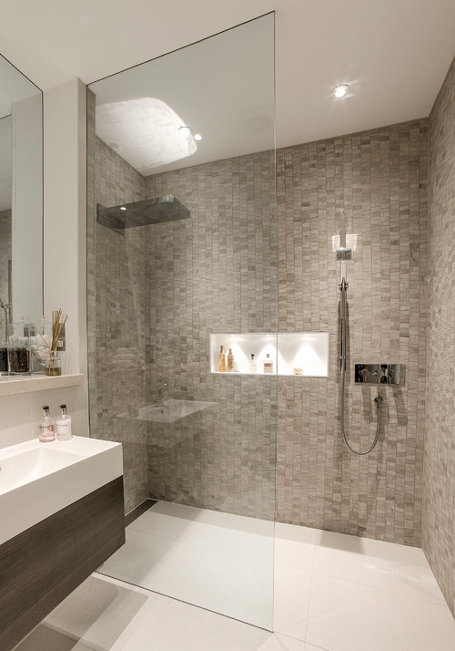 A beautiful basement shower room