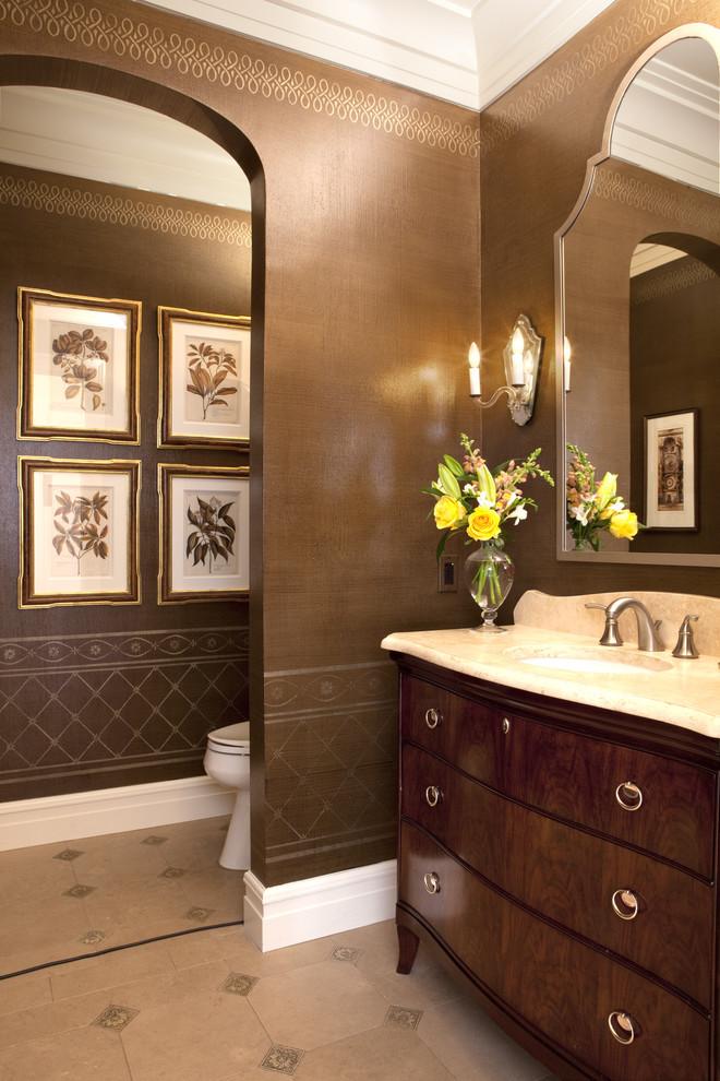 Bathroom - traditional bathroom idea in DC Metro with marble countertops