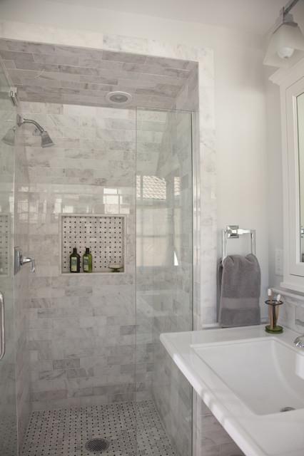 A fresh take on tudor master bath traditional for Tudor bathroom design