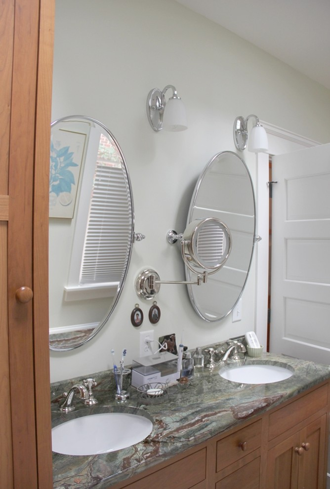 A highly-functional vanity area in the master bathroom ...