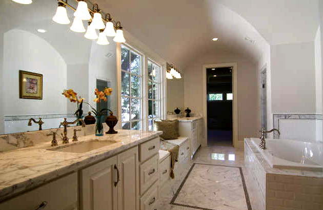 A Large Master Bath With Barrel Vaulted Ceiling