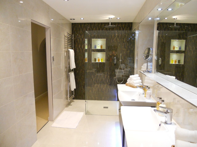a luxury boutique hotel style bathroom contemporary