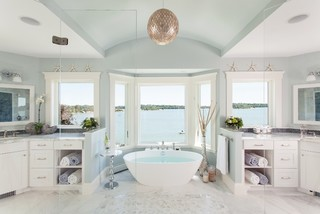 A Master Bathroom With A View Beach Style Bathroom Boston By Roomscapes Luxury Design Center