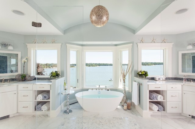 A Master Bathroom With A View Beach Style Bathroom Boston By Roomscapes Cabinetry And