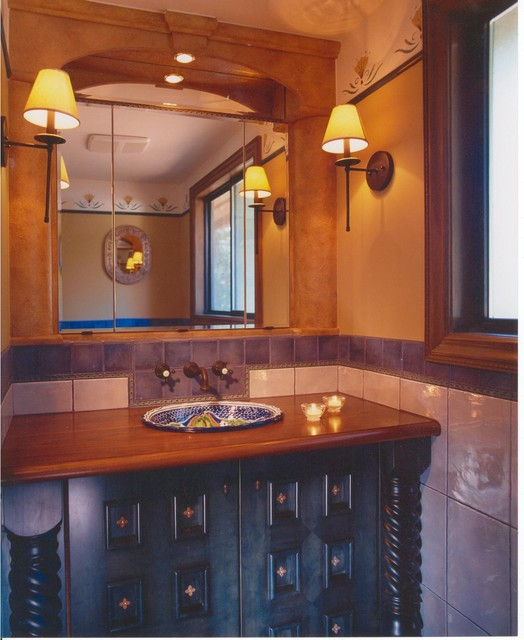 Example Of A Mountain Style Bathroom Design In Vancouver With Wood  Countertops And Blue Cabinets