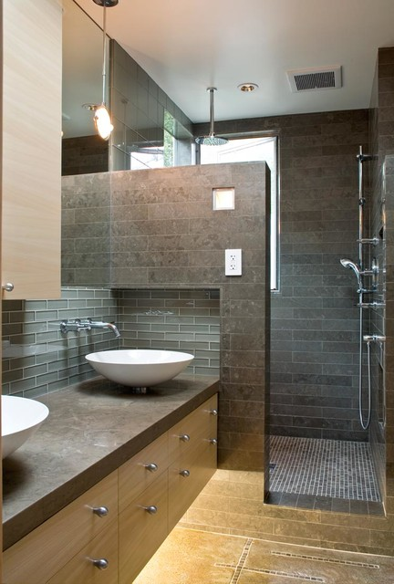 A modern and cozy family home contemporary bathroom san francisco by oneinteriors for Photos of contemporary bathrooms