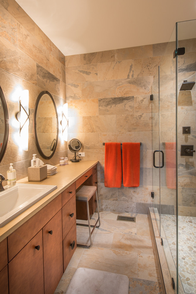 Trendy alcove shower photo in Austin with a drop-in sink, flat-panel cabinets and medium tone wood cabinets