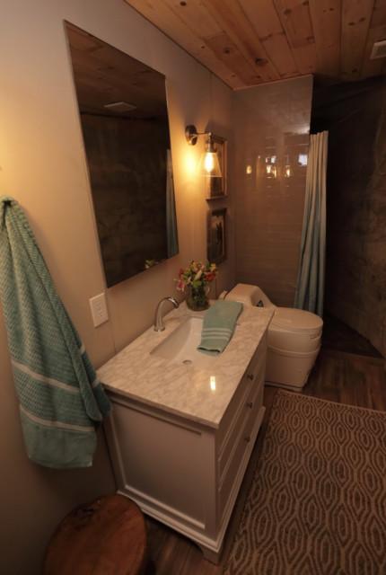 Bathroom - small country light wood floor bathroom idea in Other