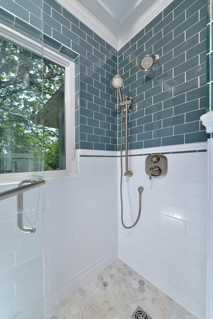 aaa classic bathroom glass tile and zero thershold in the shower  traditional-bathroom
