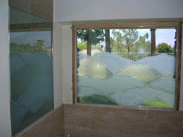 abstract hills bathroom windows frosted glass designs