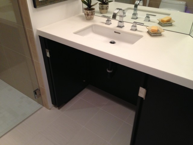 Accessible handicap shower contemporary bathroom los angeles by gamburd inc for Wheelchair accessible sink bathroom