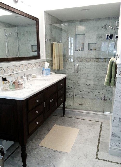 ACI Bianco Carrara and Custom Mosaic Accent - Traditional - Bathroom - dc metro - by ...
